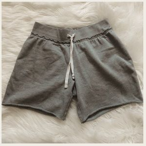 Girls long grey gym shorts with tie size large